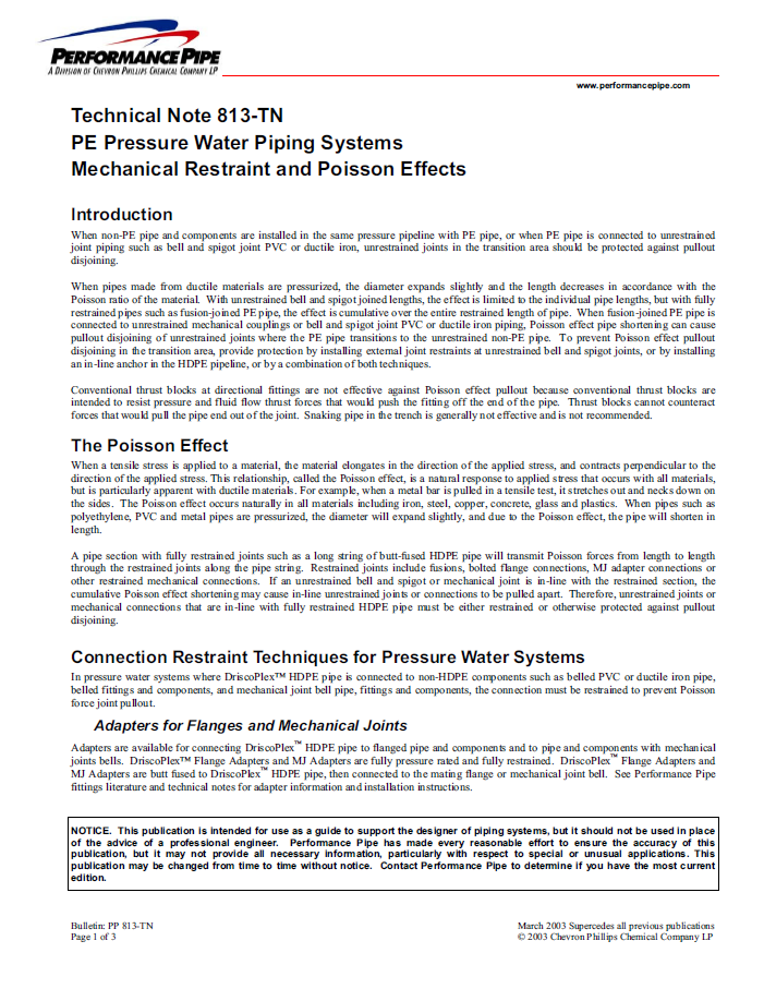Technical notes forPE pressurewater piping systems