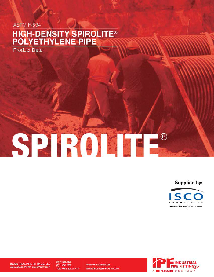 Spirolite HDPE product data cover page