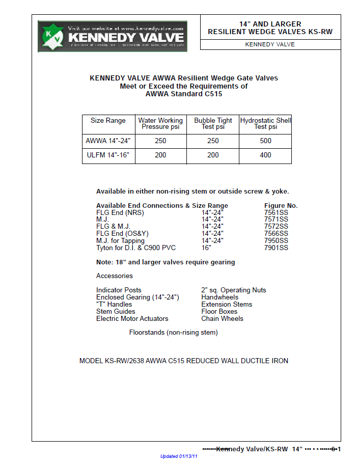 A technical data sheet for 14 inch and larger resilient Kennedy wedge valves