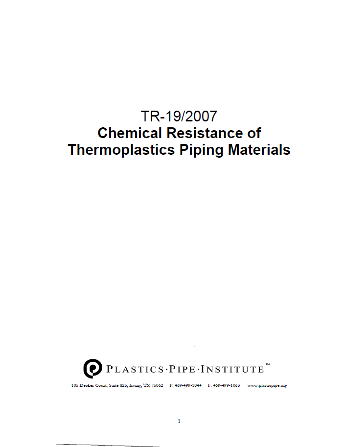 The cover page of the chemical resistance of thermoplastic piping materials