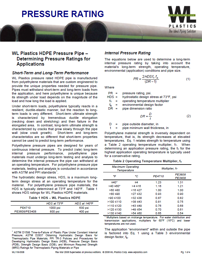A technical data sheet listing the pressure rating of HDPE pressure pipes from WL plastics