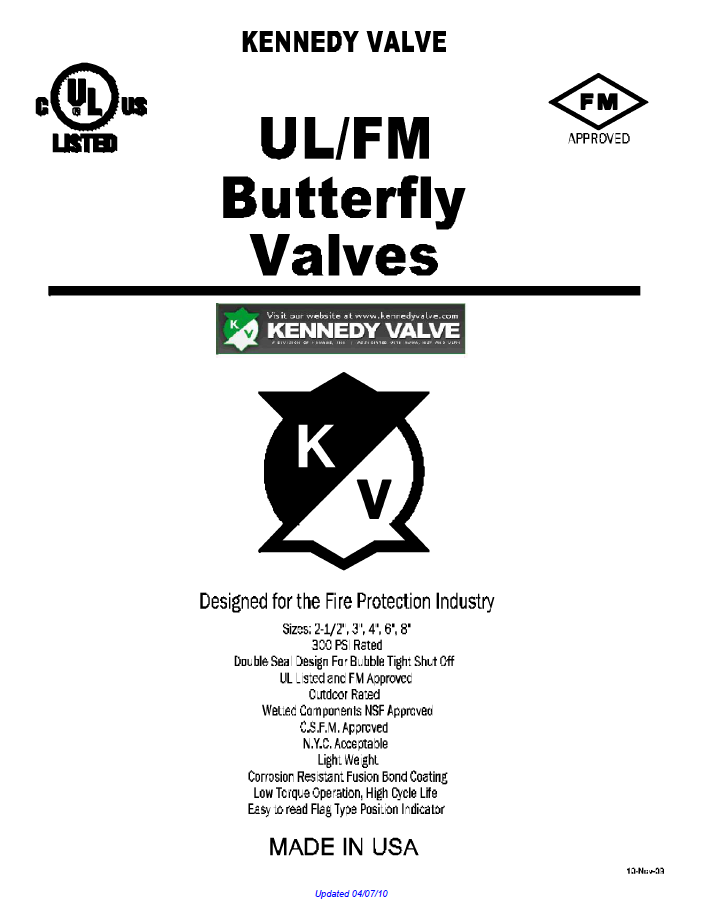 Kennedy UL/FM Butterfly Valves