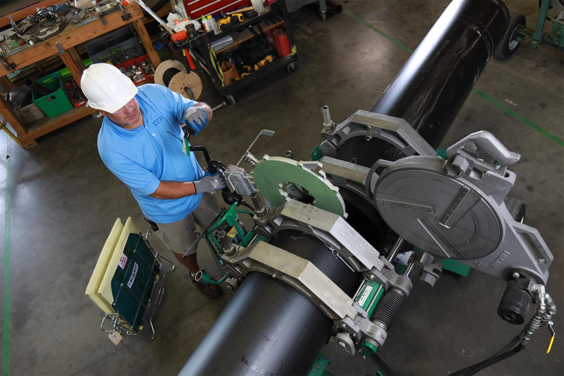 A ISCO team member fusing HDPE pipe