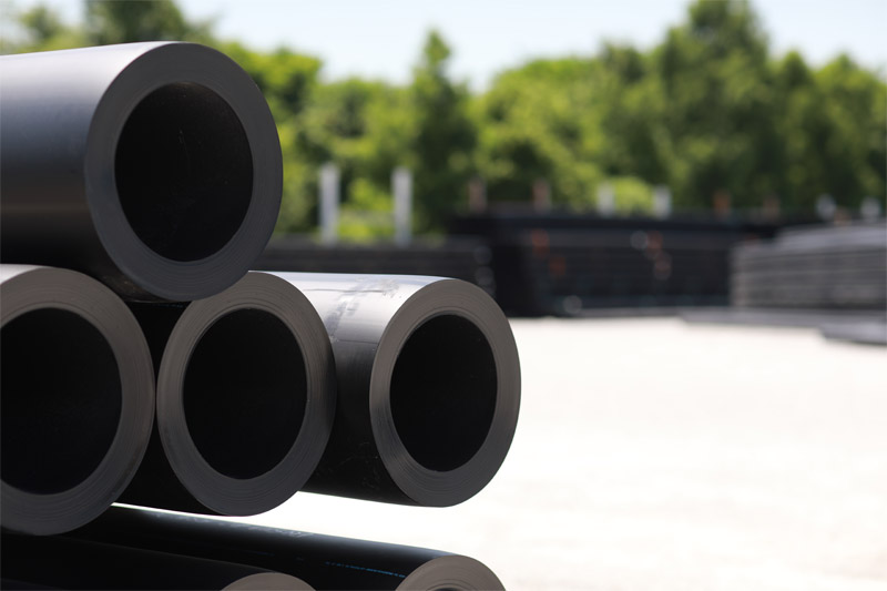 HDPE pipe stacked at the ISCO Industries Riverport Manufacturing Facility