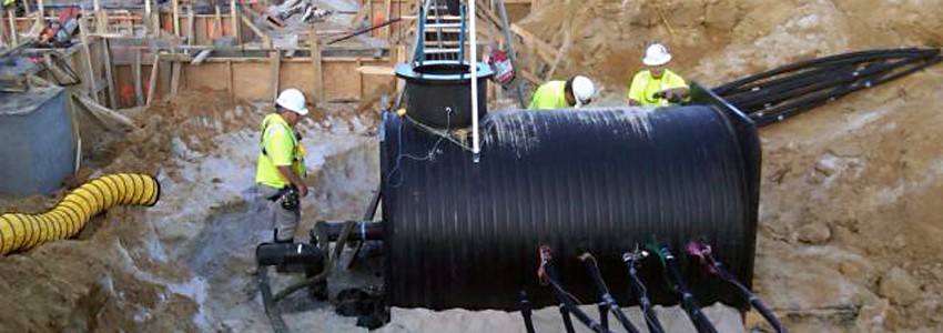 A geothermal vault being installed