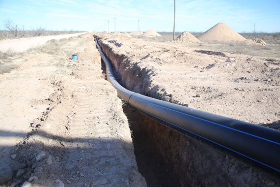 HDPE pipe installed Big Lake, Texas for water supply transportation