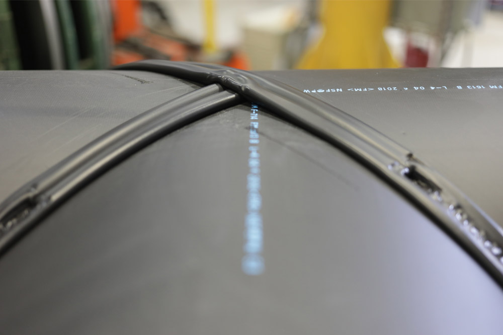 A close up of HDPE fusion joint