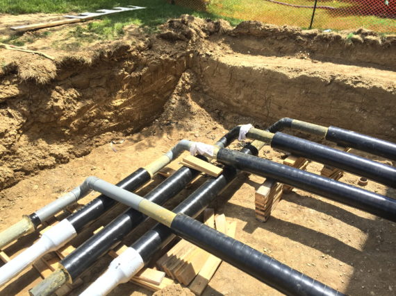 HDPE pipes in a geothermal heating and cooling system in Oxford, Ohio