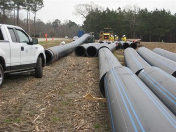 HDPE Pipe with ISCO truck ready for fusion