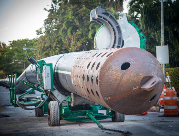 Large diameter HDPE pipe with pulling head in fusion machine Miami Beach, FL