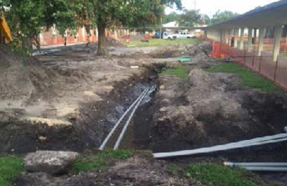 Pipe being laid in Jacksonville, Florida
